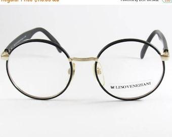 ON SALE Vintage Glasses, Round Eyeglasses, Lino Veneziani, Harry Potter Glasses, made in Italy, Black Eyeglasses, Hipster, Optical Glasses F