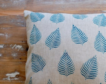 Cushion Cover: Linen, Handprinted and Handmade
