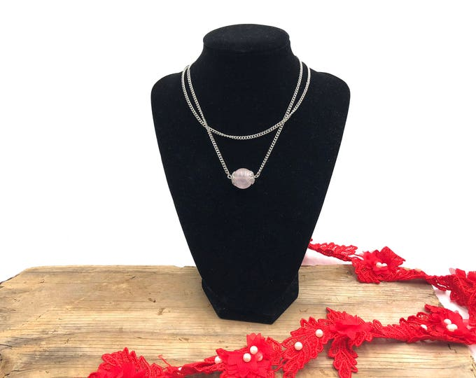 NIA: rose quartz double chain choker