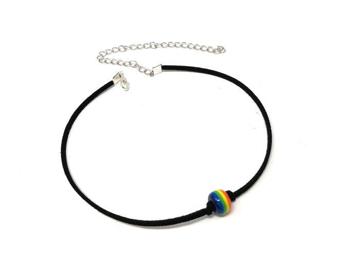 PRIDE: rainbow bead faux suede choker