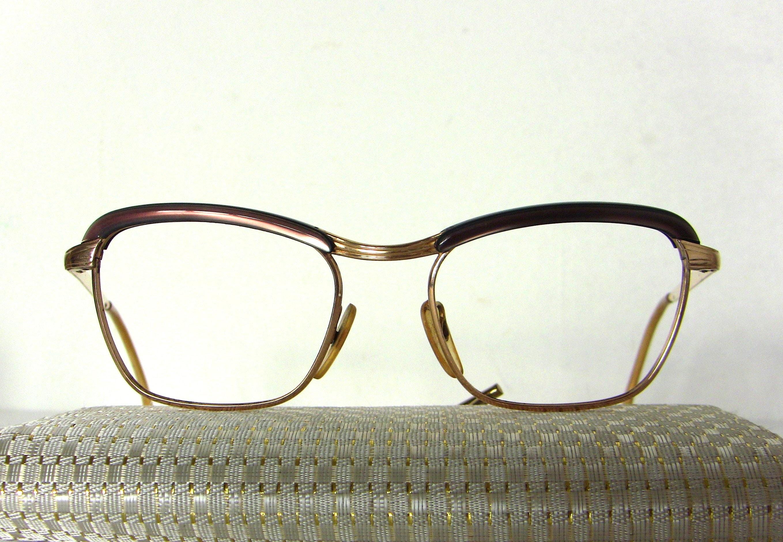 546c8a72064 French 50 s 60 s Eyeglasses Gold Filled Douce Pink Rim Frame Eyewear FREE  SHIPPING Medium Size Women s