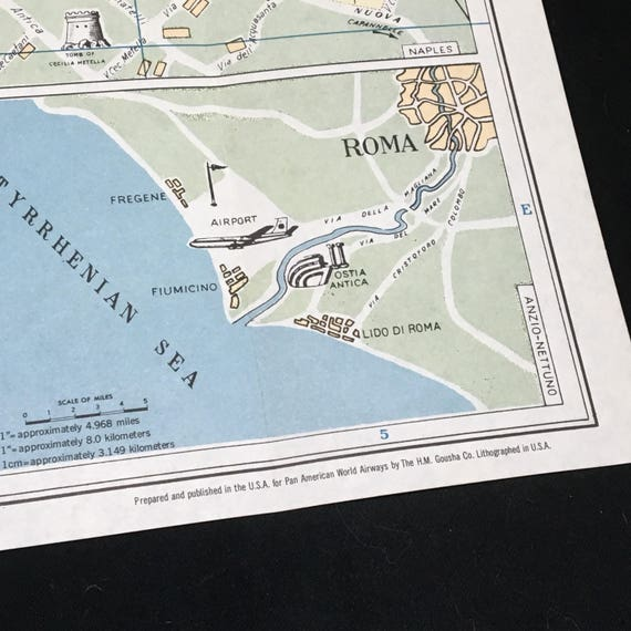 Vintage Pan Am Map of Rome Large Illustrated Map Pan