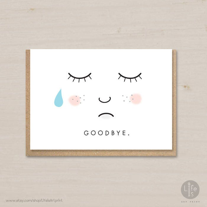 This is a graphic of Gutsy Printable Goodbye Cards