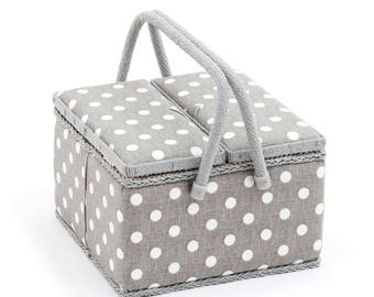 Hobbygift Twin Lid Large Size Linen Grey and White Polka Dot Sewing Basket