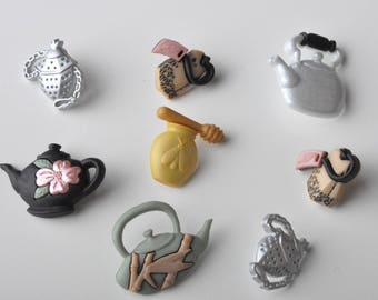 "Dress it up button set ""time for tea"""