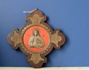 Antique French Sacred Heart of Jesus plaque. Tole. Montmartre basilica, Paris. Early 1900s Wall decoration