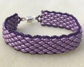 Purple Super Duo Beaded Bracelet