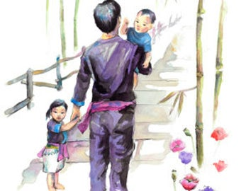 Hmong, Art, Painting, father, Son, Daughter, Poster, print, watercolor
