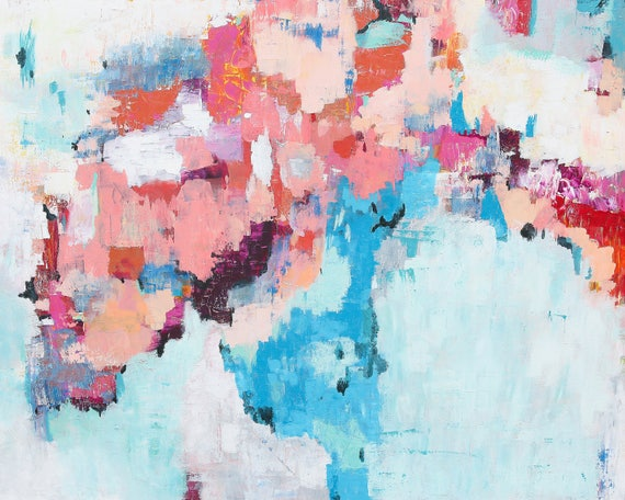 Modern Giclee Print - pink and blue