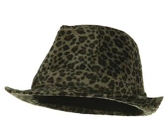Leopard Print Faux Fur Fedora