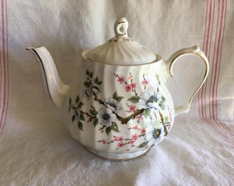 Vintage Sadler Swirled Teapot Dogwood and Flowering Cherry Blossom Design England