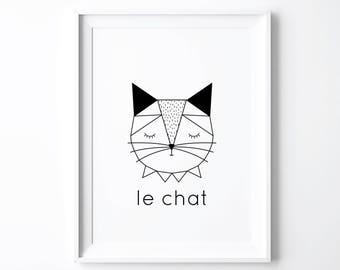 Baby Cat Print, Art Prints, Woodland Nursery Decor, French Print, Gender Neutral Nursery, Cute Animals Baby Shower Gift, Cat Lover, Kitten