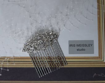 Ivory birdcage veil, bridal hair comb, wedding blusher veil, diamante rhinestone comb, 1950's 1960's vintage inspired headpiece - WV53