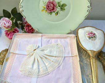 Set of Three Pretty Lace Edged Vintage Handkerchiefs