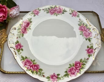 Pretty Pink Rose Vintage  Paragon 'Percy Thrower'  Harry Wheatcroft Six World Famous Roses Cake Plate
