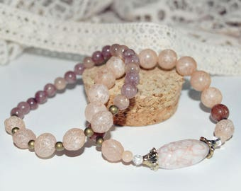 Duo of bracelets old pink