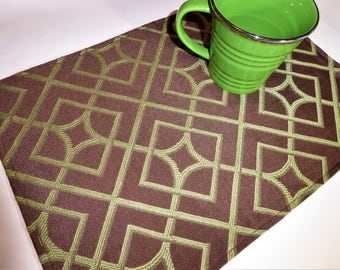 Placemats-Placemat-Modern Placemats-Cloth Placemats-Fabric Placemats-Placemat Sets-Brown Placemats-Geometric Placemats-Brown Place Mats