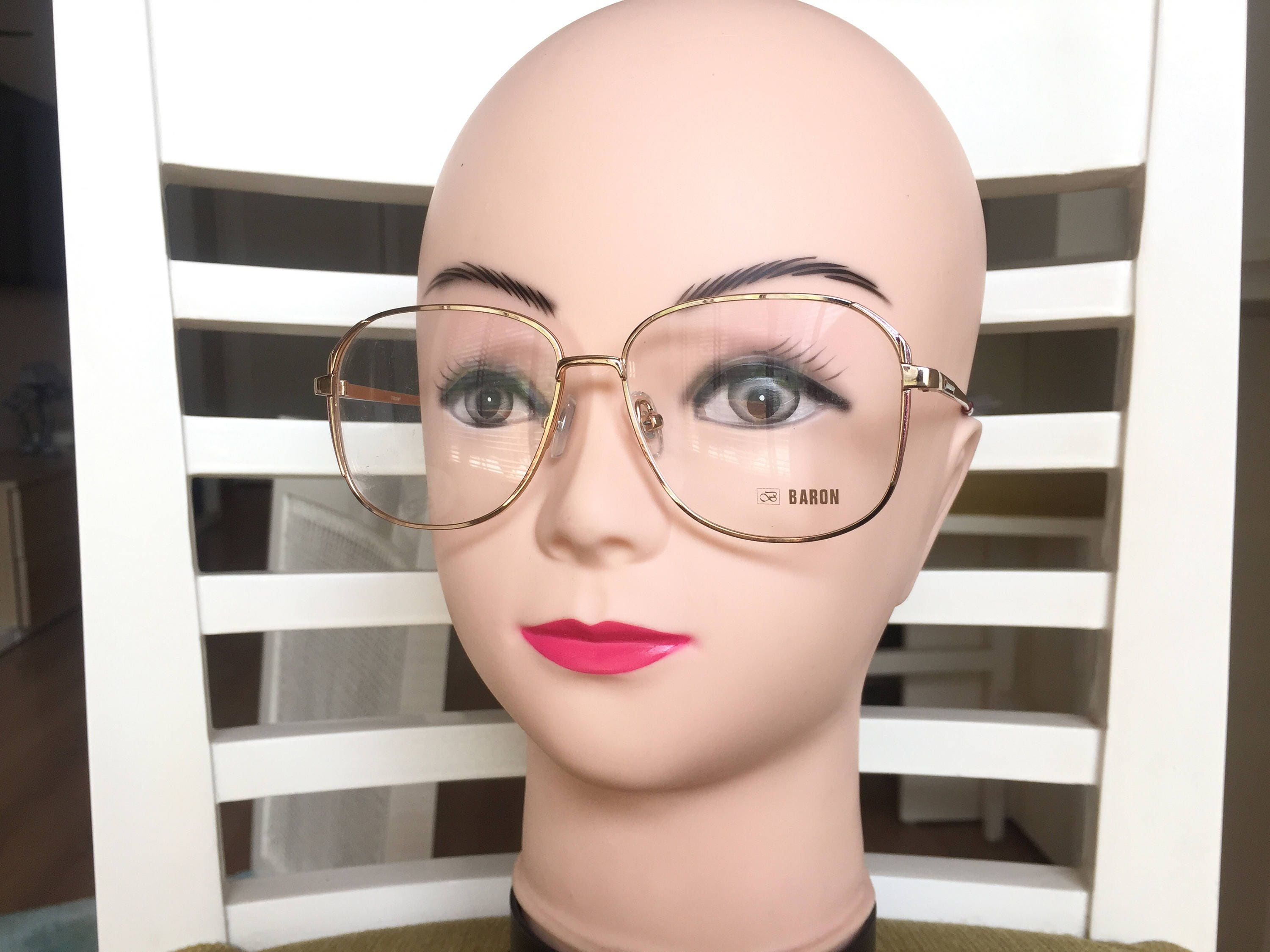 Gold Square Eyeglasses Vintage Baron glasses 80s glasses Large ...