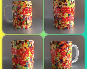 personalised mug cup jelly beans sweets candy jelly bean gift present any wording