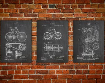 Bicycle  canvas print, Bicycle Wall Art, Bicycle Wall Print, Cycling Wall Decor, Bicycling Wall Art, Cycling Poster, Bicycle gift Set Of 3