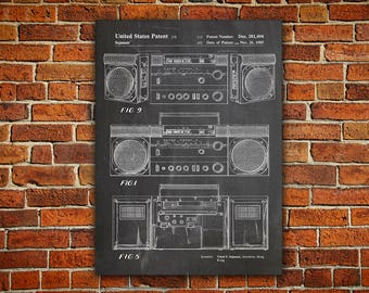 Boombox Canvas painting,Cassette Player,Ghetto Blaster,Music Room Decor,Music Room Wall Art,90s Decor,90s Poster,Cassette Recorder