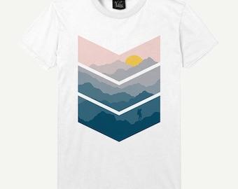 Men's Geometry T-Shirt Sun Shirt Mountain Tee