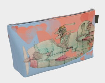 Custom printed Makeup Bag: The old pilot in his airplane with hearts in the sky.