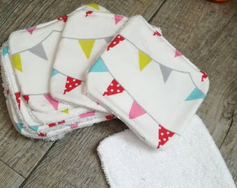 """12 pretty wipes/cotton washable """"flags Garland"""""""