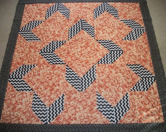 """Handmade Quilt Top*Roses Quilt Top*Box Me In*Coral Roses*Black and White Chevron*Size 41""""X41""""~~*Pretty Combo*Unique Pattern*Flower Fabric*"""