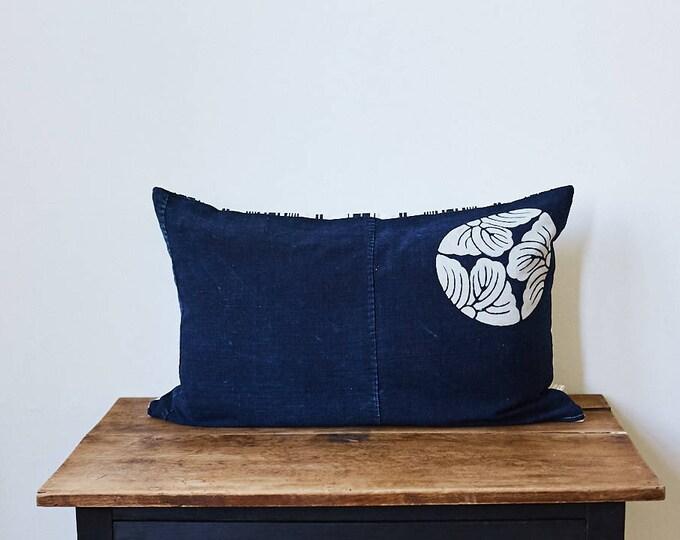 """Vintage Japanese Furoshiki with Kamon fabric pillow 16"""" x 26"""""""