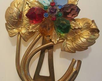 Vintage Goldtone Flower Fur Clip