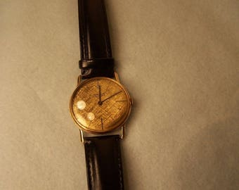 Vintage Men's Gruen 18K Gold Watch with leather band