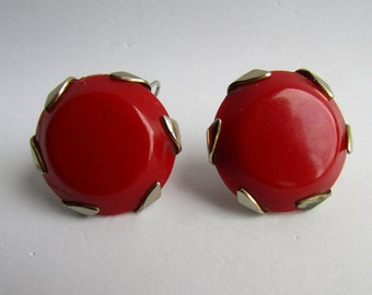 Vintage Red Bakelite Cabochons with Chrome Frame Lever Back Pierced Earrings