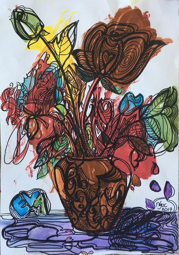 FLOWER VASE, 12x18 in, water color and black ink on paper. Original painting by Nguyen Ly Phuong Ngoc