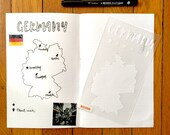 """Germany Map Stencil - Bullet Point Journal Travel Stencil, fits Traveler's Notebook, Leuchtturm and Moleskine 5"""" by 7"""""""