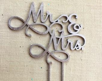 Rustic Laser Cut Wood Cake Topper - Mr. & Mrs. Cake Topper - Custom Cutout Silver Calligraphy Wedding Sign