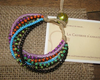 """Gypsy"" bracelet made of linen and 7 rows of seed beads and glass beads"