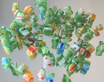Glass Chip Beads in Mixed Colors/Sizes - Green with Yellow, Red, Blue & White, 4-8mm - Approx. 65 Pieces
