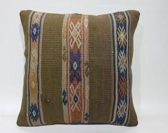 "Handmade Kilim Rug Pillow Cover 16"" x 16"" Vintage Turkish Kilim Pillow Cover Stripe Desing Cushion Cover Cases Home Decor Pillows  2640"