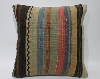 Kilim Cushion Handwoven Kilim Rug Decorative Pillow Cover Handmade Turkish Rug Pillows Red Colors Striped Vintage Kilim Pillows    2686
