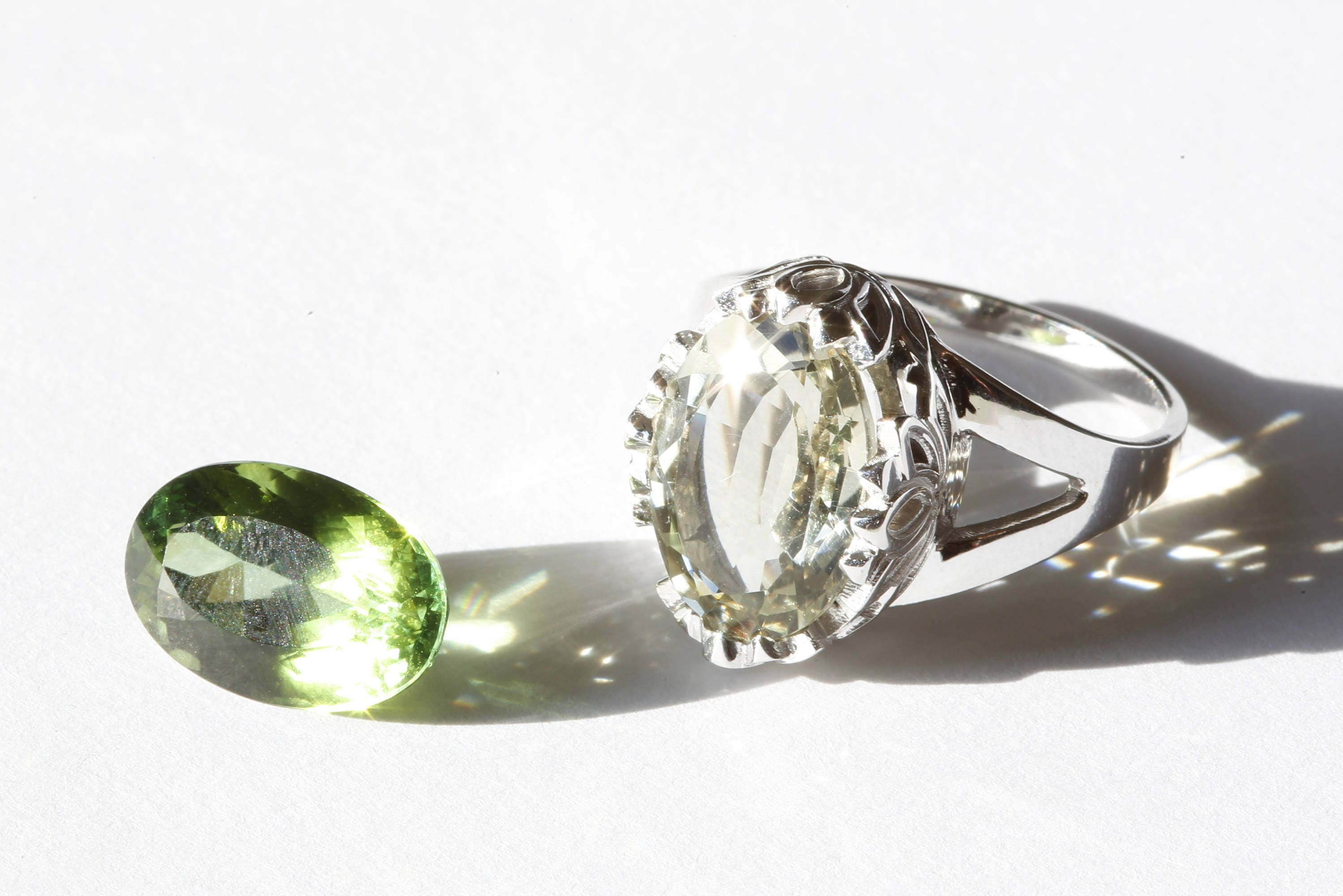 bespoke jan diamond rings logan gold green ring white tourmaline