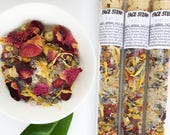 Facial Steam by BODY STUFF to detox and energize skin. Test tubes, flowers, party favor. Herbal steam with dead sea salts. Facial cleanse.