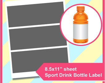 "Instant Download sport drink bottle Template, PSD, PNG and SVG, Dxf Formats,  8.5x11"" sheet,  Printable 203"