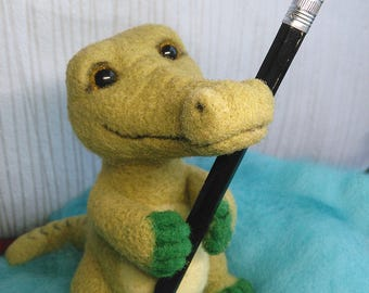 Felted crocodile, Felted toy, Felted animals