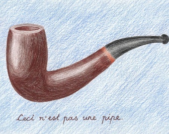 """This is Not a Pipe """"Ceci N'est Pas Une Pipe"""" Home Decor Illustration"""