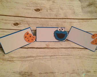 Cookie Monster Tent Cards/Food Placecards/Party Decor/Sweets Table