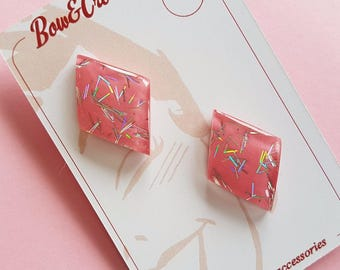 Justine Diamond earrings - Pink with Holographic
