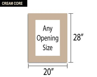 Multiple Colors - Any Opening Size - 20x28 Photo Mat (CREAM CORE)