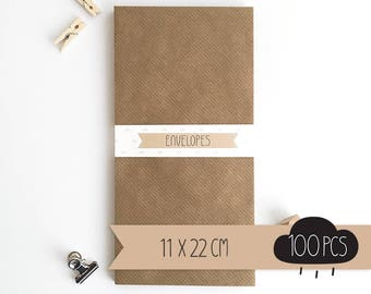 Envelope DL / kraft brown / 11 x 22 cm / 100 pieces