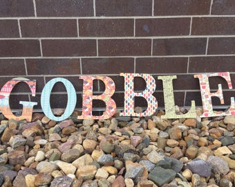 """Wooden """"Gobble"""" Sign / Thanksgiving Decor / Holiday Decor / Wooden Letter Decor / Wooden Words / Home Decor"""